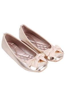LALANG Women's Shoes Bowknot Moccasin-gommino Square Toe Flat Shoes Gold