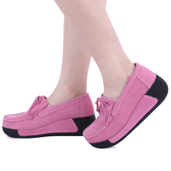 Bowknot Suede Comfortable Wedge Shoes(Pink) - intl