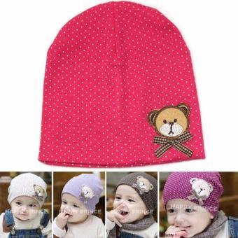 Mũ chấm bi cotton cho bé (Hồng)