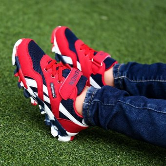 Jarma kid's sneaker net vamp with breathable leather walking shoes running shoes (Red) - intl