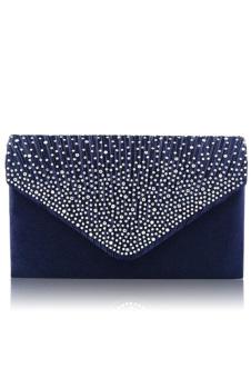 Women Lady Large Satin Diamante Handbag Envelope Clutch Bag Single Shoulder Bag with Chain for Evening Party Prom Blue