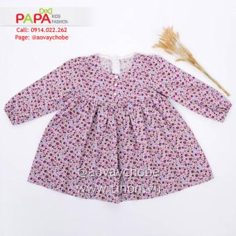 Đầm Hoa Tím Hồng Tay Nhún Chun Papa Fashion