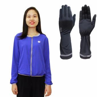 Bộ gồm áo khoác nữ+ găng tay ngắn chống nắng UPF50+ zigzag COJG02 ( Light Grape Blue+ đen)