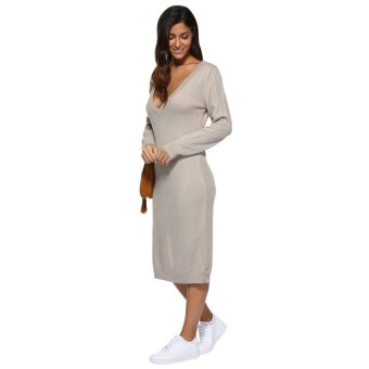 Sexy Plunging Neck Pure Color Loose Sweater Dress for Women - intl