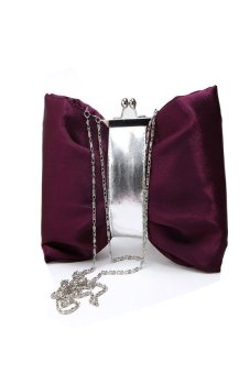 HKS Women Purse Handbag Evening Party Bag Satin Clutch Purple - intl