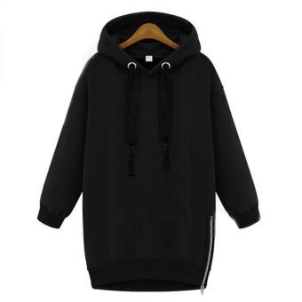 ZANZEA Long Sweatshirt Zipper Hoodies Women Plus Size Top (Intl)