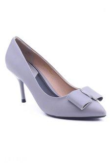 Giày cao gót nhọn nơ 1 tầng Sarisiu XT727 (Xám)