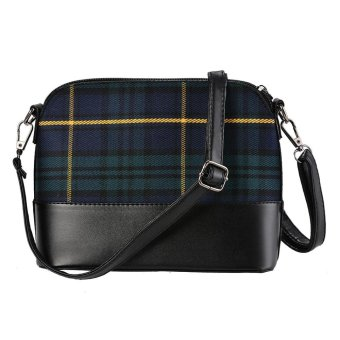Linemart New Fashion Women Synthetic Leather Plaid Flap Shoulder Bag Cross Body Bag Messenger Bag ( Green ) - intl