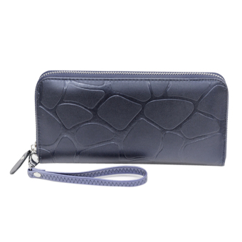 Fashion Women Leather Weave Long Wallet(Navy blue) - intl