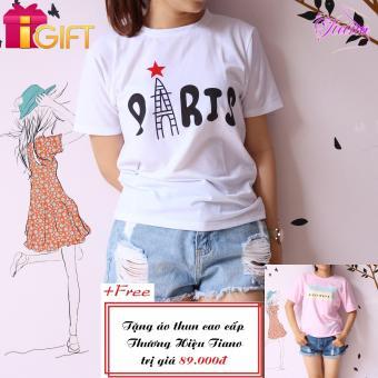 Áo Thun Nữ Tay Ngắn In Hình Paris Cực Cool Tiano Fashion LV385 ( Màu Trắng ) + Tặng Áo Thun Nữ Tay Ngắn In Hình Black White Năng Động Tiano Fashion (màu hồng)