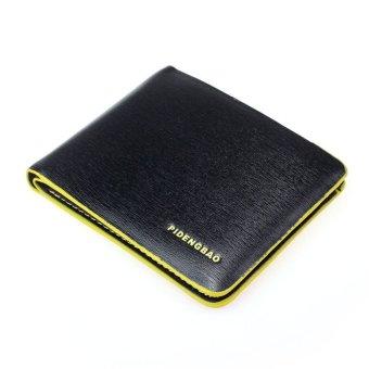 Men Leather Bifold Credit/ID Cards Holder Slim Wallet Yellow/Black