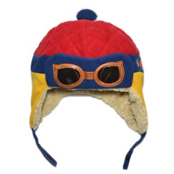 Winter Warm Child Hat Beanie Earflap Hat Pilot Aviator Style Cap For 2 - 5 Years Old Kids Red + Blue + Yellow