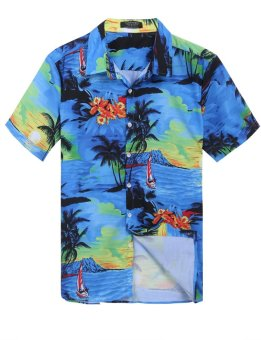 Linemart New Mens Casual Short Sleeve Print Aloha Style Slim Hawaiian Button Down Shirt ( Blue ) - intl