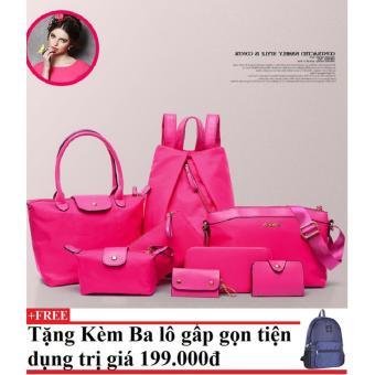 Túi xách, ví và balo 8 mẫu dành cho nữ CHODEAL24H (hồng) + Tặng kèm balo du lịch gấp gọn