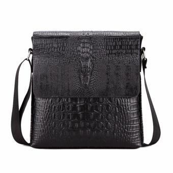 Túi đeo chéo nam vân cá sấu 2 lớp (đen)