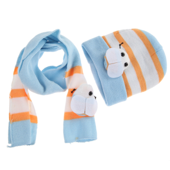 Warm Baby Boys Girls Hat Scarf Set Cute Knitted Cotton Hats(Sky Blue) (Intl)