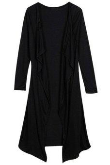 Cyber Women Full Long Sleeve Drape Collar Maxi Long Casual Cardigan Black - Intl