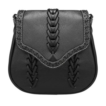 Sunweb New Women Synthetic Leather Messenger Bag Weave Hollow Soft Flap Casual Outdoor Shoulder Bag ( black ) - intl