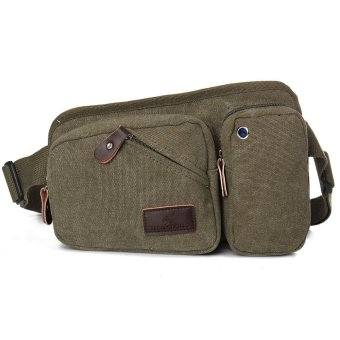 Canvas Cell Phone Belt Hip Fanny Pack Waist Sling Chest Bag Army Green - Intl