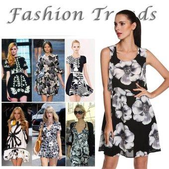 Sunweb ANGVNS Stylish Ladies Sexy Waist Cut Out Floral Casual Chiffon Dress ( Black ) - intl