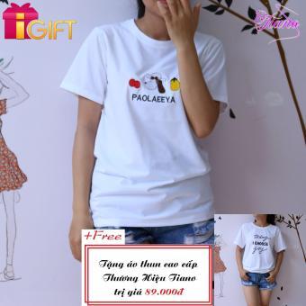 Áo Thun Nữ Tay Ngắn In Hình Paolaeeya - Hạt Đậu Phong Cách Tiano Fashion LV040 ( Màu Trắng ) + Tặng Áo Thun Nữ Tay Ngắn In Hình Today I Choose Joy Phong Cách Tiano