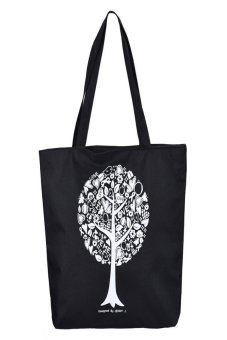 HKS Canvas Trees Shopping Shoulder Bags Women Handbag Tote HandBags (Black) - intl