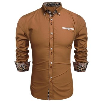 Linemart ?COOFANDY Men Long Sleeve Turn Down Neck Front Pocket Loose Tops Casual Dress Cotton Button Down Shirts ( Brown ) - intl