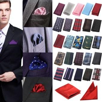 Men Pocket Square Hankerchief Korean Silk Paisley Dot Floral Hanky Wedding Party Style33 - Intl