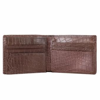 Bộ ví và thắt lưng nam da bò thật LAKA nâu cá sấu + Tặng 01 ví nam da bò LAKA (Đen vân cá sấu) trị giá 300.000đ