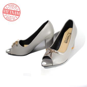 Giày cao gót 7p đế vuông cao cấp sang trọng màu xám NT FASHION 139702