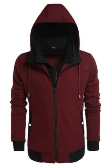 Cyber Coofandy Men's Warm Hooded Slim Pullover Hoodies (Wine red) - Intl