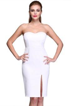 Cyber Women's Strapless Midi Backless Dress (White) - intl