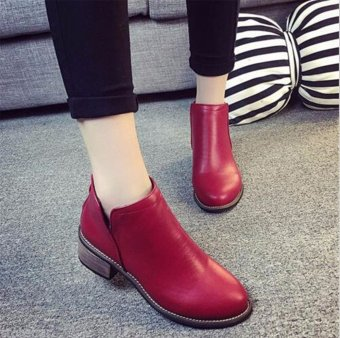 Classic Womens Ladies Short Boots Shoes Ankle Boots Zipper Thick Heel Shoes Hot Red - intl