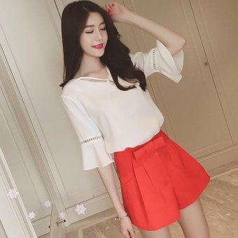 2017 new summer dress with short sleeves chiffon unlined upper garment pendant hollow-out falbala horn sleeve short sleeve summer wear - intl