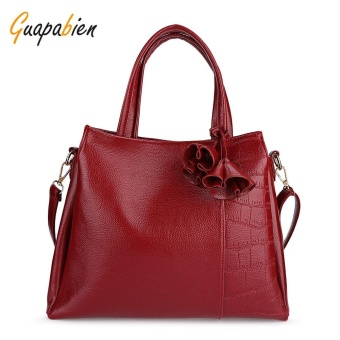 Guapabien Solid Irregular Pattern Patch Tote Bag Shoulder Bags for Women(Wine Red) - intl