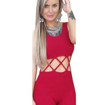 Gamiss Women Sleeveless Sexy Backless Shorts (Red)--TC - intl