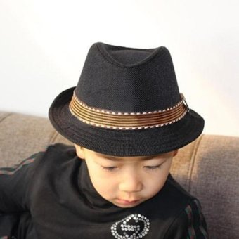 Moonar Kids Unisex Fedora Hat Contrast Trim Cool Jazz Hat Trilby Cap Chapean (black) - intl