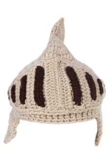 LALAN Hand-Knit Beanie Knight Masks Cap (Beige)
