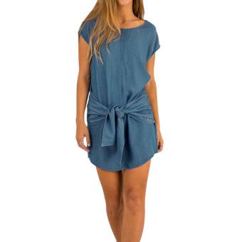 Mini Sleeve Denim Short Dress (Dark Blue) - Intl - intl