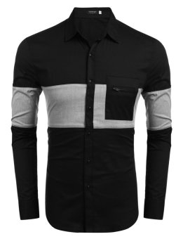 Mua Linemart Men's Long Sleeve Contrast Color Pocket Casual Button Down Shirt ( Black )(Int:XXL)(OVERSEAS) - intl giá tốt nhất