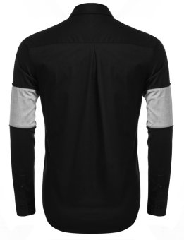 Linemart Men's Long Sleeve Contrast Color Pocket Casual Button Down Shirt ( Black )(Int:XXL)(OVERSEAS) - intl