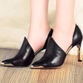 Giày da cao cấp mũi vàng ( ĐEN )