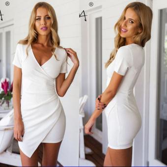 Gamiss Woman Polyester Deep V-Neck Hip Dress (White) - intl