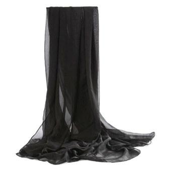 Moonar Women Chiffon Soft Scarves Long Wraps Shawl Beach Silk Scarf (Black)