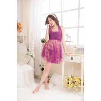 Đầm ngủ quyến rũ nhún ngực phối ren Chodeal24h (tím)
