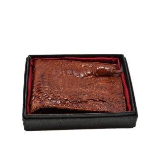 Ví nam trong da cá sấu 1 móng tay Gia Huy GH-S111-3 (nâu đỏ)