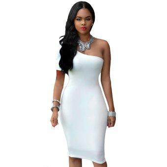 Midi Club Dress One Shoulder Pure Color Skinny Women(White) - Intl
