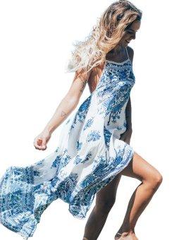 Linemart Women Casual Spaghetti Strap Sleeveless Floral Loose Beach Dress ( White ) - intl