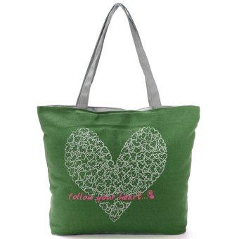 Printing Canvas Bags Women Handbag Fashion Shoulder Shopping bag Totes Green - Intl