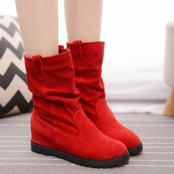 New Women Winter Increased Mid-calf Knight Suede Martin Boots Middle Tube Shoes Red - intl